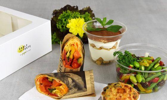 Auf dem Bild zu sehen: Die Produkte der *Safe-Eating* Lunchbox, welche zu Zeiten von Corona nach Sicherheits- und Hygienestandards durch Einwegverpackungen, Corona-Konform einzeln verpackt wurden.