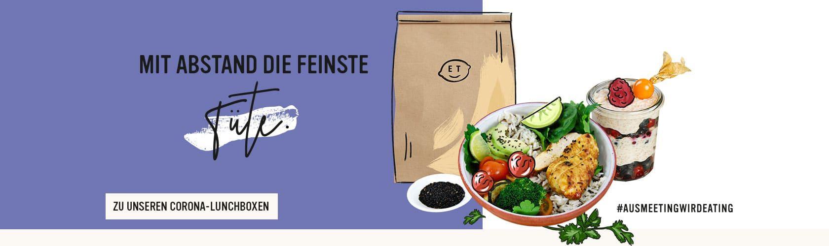 Die Produkte der *Safe-Eating* Lunchbox, werden zu Zeiten von Corona nach Sicherheits- und Hygienestandards durch Einwegverpackungen einzeln verpackt. Catering Corona-Konform.